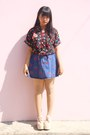 Black-printed-thrift-store-shirt-blue-denim-thrift-store-skirt