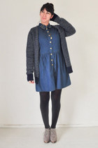 navy vintage cardigan - blue Topshop dress