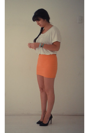carrot orange Zara skirt - white Topshop shirt