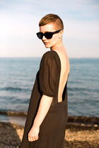 black dress - black sunglasses