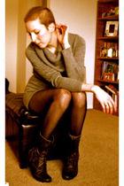 gray H&M dress - black Target tights - black Steve Madden boots