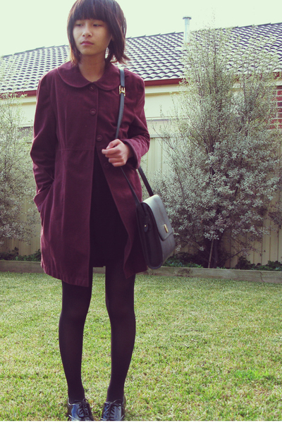 coat - tights - dress - purse