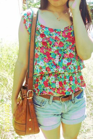 bag - shorts - blouse