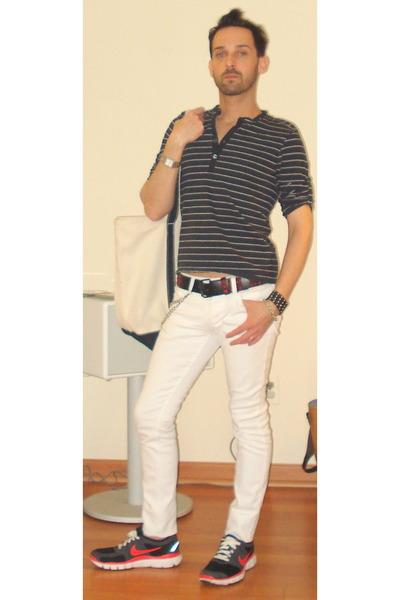 black ben sherman shirt - white social collision jeans - beige Lands End  accesso d68c96158