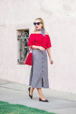 red H&M top - Reformation skirt