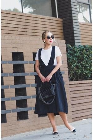 black Chanel bag - black Urban Outfitters skirt - black Chanel flats