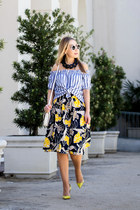 black Zara skirt - yellow Christian Louboutin heels