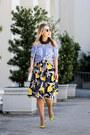 Black-zara-skirt-yellow-christian-louboutin-heels