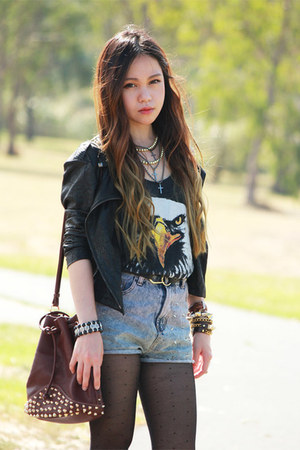 dark gray eagle blouse - black blazer - brown leather bag - denim shorts