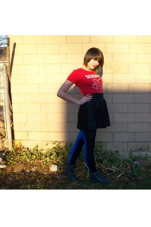 red delias shirt - black WALMART  skirt - black Claires tights - gray Blowfish s