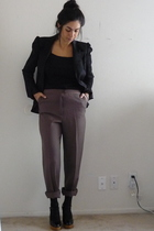 brown pants - black shoes - black stockings - black milly blazer