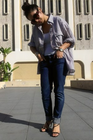 button down YSL blouse - dark wash seven for all man kind jeans