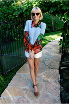 ivory vintage shorts - sky blue angora vintage esprit sweater