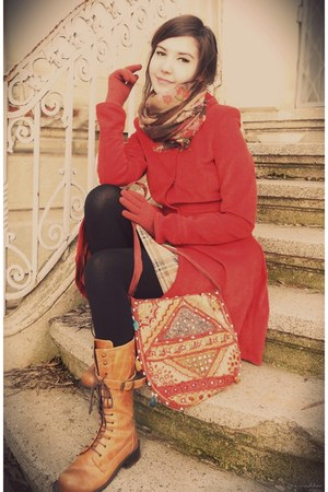 orange boots - black tights - brown scarf - carrot orange bag