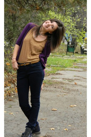 purple blouse - navy Amisu jeans - bronze shirt - magenta scarf - mustard belt