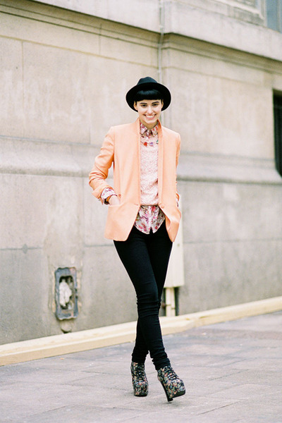 peach The Kooples jacket - Jeffrey Campbell boots - black KarlMarcJohn hat