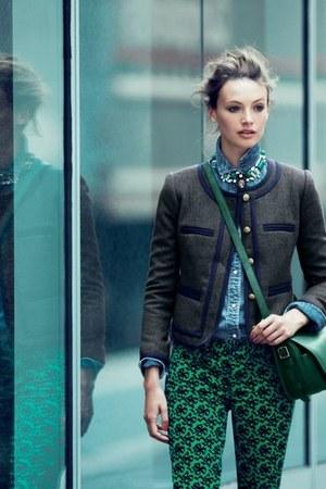 green pants - gray jacket - sky blue jeans shirt - dark green bag