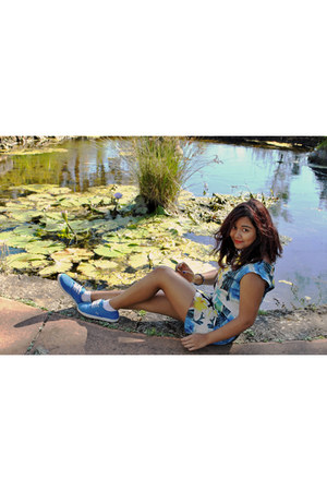 turquoise blue blue Vans sneakers - yellow Sportsgirl dress