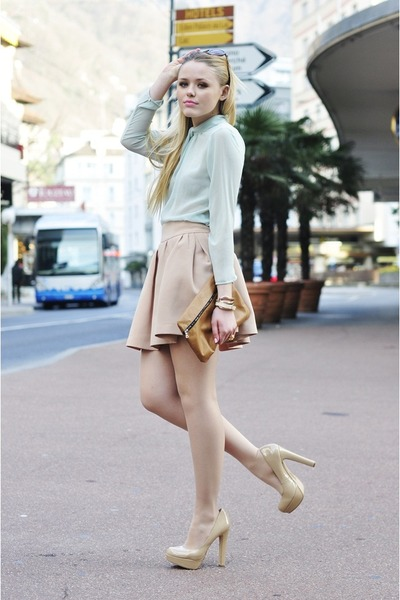 Mango sunglasses - nude Steve Madden heels - beige Zara skirt