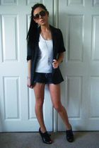 gray Primark blazer - white Topshop top - blue Topshop shorts - gold Accessorize