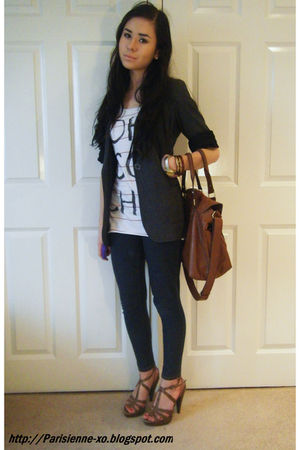 gray Primark blazer - white new look t-shirt - blue Primark leggings - brown new
