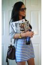 Blue-primark-dress-gray-primark-cardigan-brown-h-m-purse-black-havaianas-
