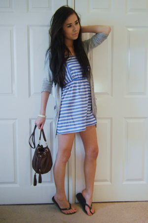 blue Primark dress - gray Primark cardigan - brown H&amp;M purse - black Havaianas -