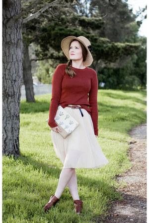 Lucky Brand boots - Ebay skirt - H&M top