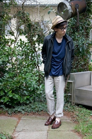 asos hat - Ray Ban glasses - acne t-shirt - Fly 53 jacket - H&amp;M pants - Sebago s