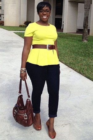 yellow peplum Forever 21 blouse