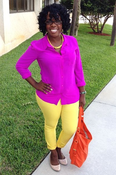 hot pink silk blouse Worthington blouse