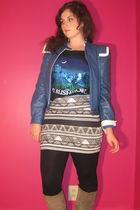 blue vintage Wilsons Leather jacket - black Thrifted cut-up Tshirt shirt - black