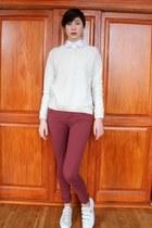 ivory Zara sweater - magenta jennyfer jeans - white Zara skirt