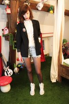 H&M blazer - Zara shirt - DIM tights - Hells Bells shorts - adidas sneakers