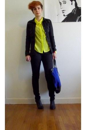 black DIY heels - black Zara jeans - blue Urban Outfitters bag