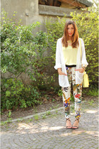 white Zara pants - light yellow Zara blouse - black Casadei sandals