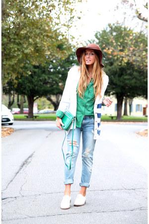 sky blue Zara jeans - teal Michael Kors shirt