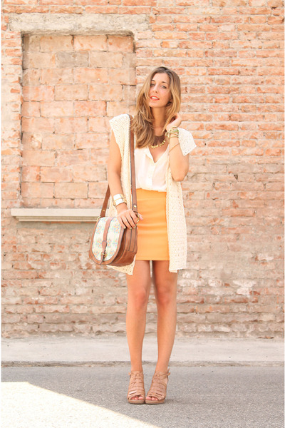 light orange H&M skirt - ivory Fossil bag