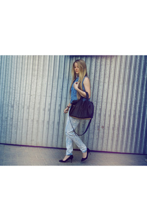 Topshop shirt - Topshop pants - OASAP heels