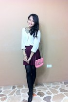 brick red H&M skirt - bubble gum coach bag - black Glo heels