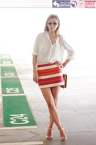carrot orange Celine skirt - off white H&M shirt - bronze Moon by Dana Rogoz bag