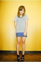 silver top - blue skirt - black People are People wedges