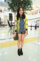 yellow mags jacket - black rubi boots - dark green Forever 21 shorts
