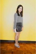 white H&M shirt - black Metanoia skirt - white ichigo wedges