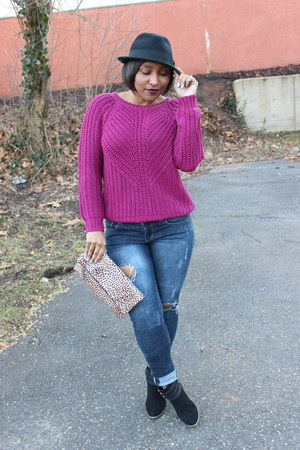 H&M hat - Target boots - Forever 21 jeans - Dynamite sweater - JustFab bag