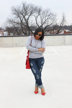 H&M sweatshirt - Forever 21 bag - Amazon heels