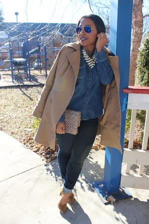 Shameless Sparkly necklace - Forever 21 coat - JustFab bag - Ray Ban sunglasses