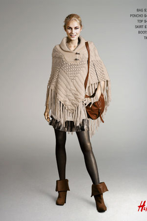 brown H&M bag - H&M accessories - beige H&M top - H&M skirt - brown H&M boots -
