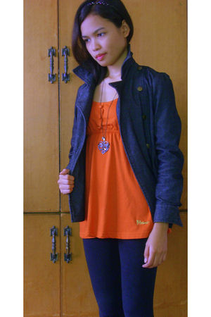 black red girl leggings - black denim jacket - orange Mossimo blouse