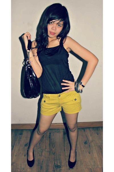 vera wang bag - shorts - Chanel heels - top